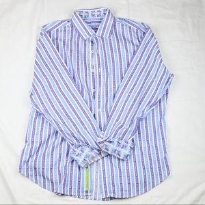 Robert Graham button shirt lavender  blue size XL
